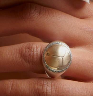 SCARAB LOGO – RING SOLID WHITE + YELLOW GOLD + DIAMONDS