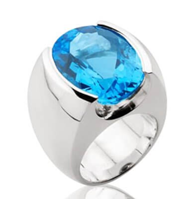 21CT MID BLUE TOPAZ + SOLID STERLING SILVER DRESS RING