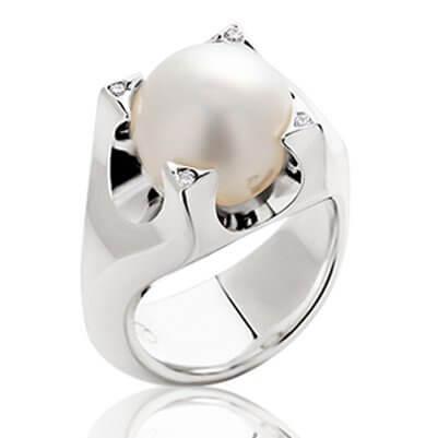 PASPALEY PEARL + DIAMONDS IN 18K WHITE GOLD