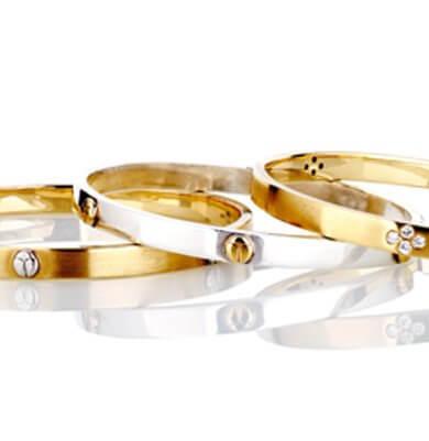 SCARAB LOGO – BANGLES SOLID 18K YELLOW GOLD, WHITE GOLD + DIAMONDS