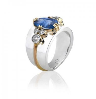 ANTIQUE DIAMOND, SAPPHIRE AND YELLOW GOLD RING + SOLID STERLING SILVER