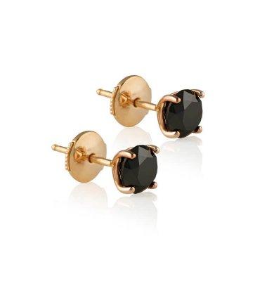 2X 1CARAT BLACK DIAMOND EARRINGS IN 18K ROSE GOLD